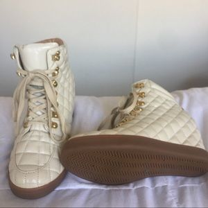 Shoes - Quilted Wedge Sneakers